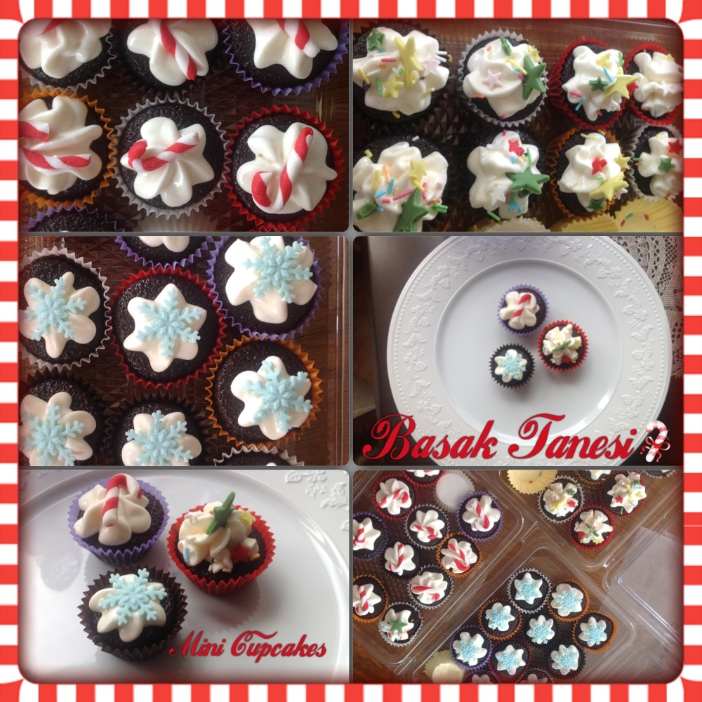 Mini Cupcakes for New Year! / Yeni Yıl için Mini Cupcake'ler!