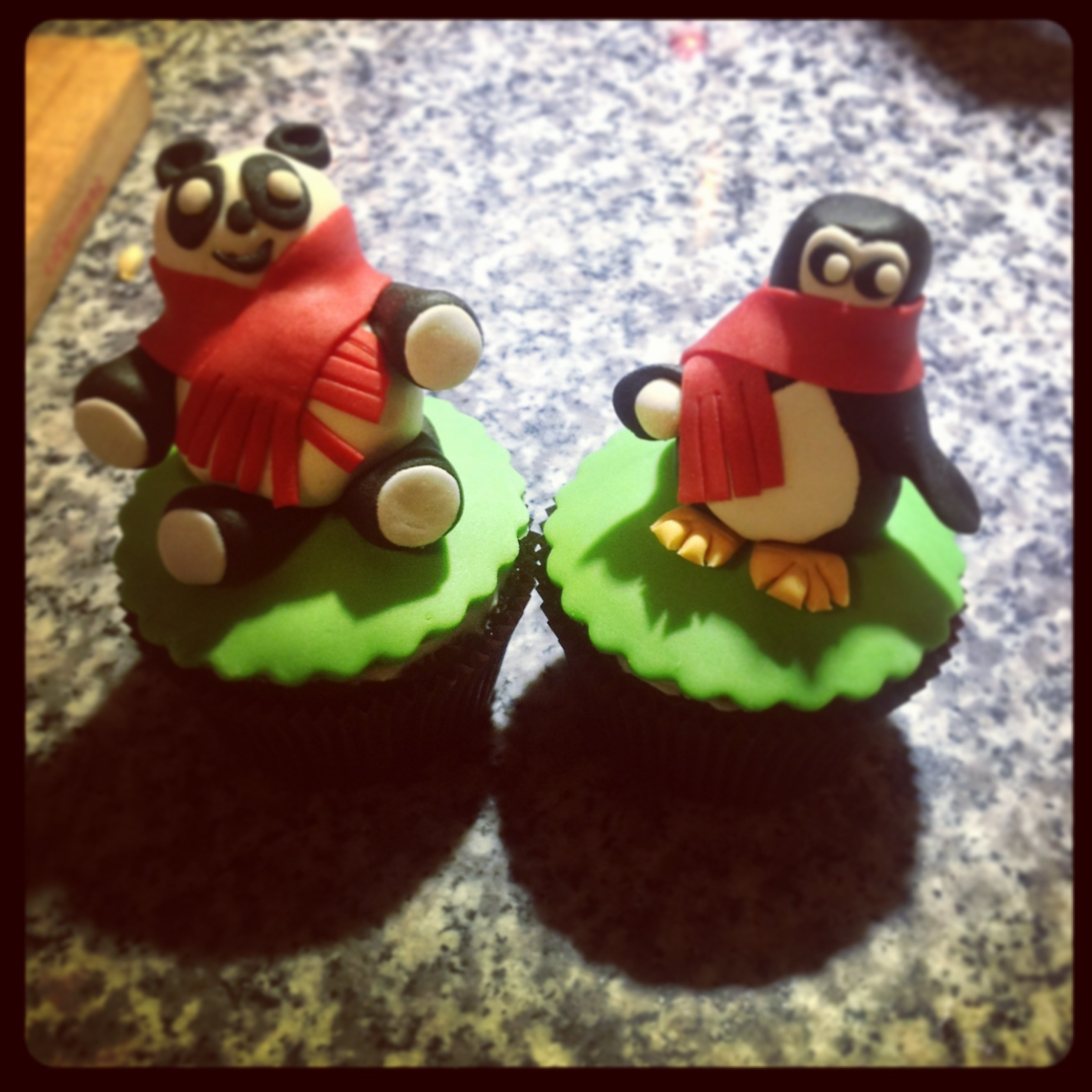 Panda and Penguin Cupcake :)